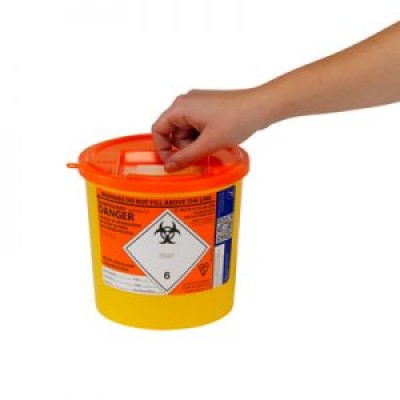 Sharps Container 2.5 Litre-Orange Lid