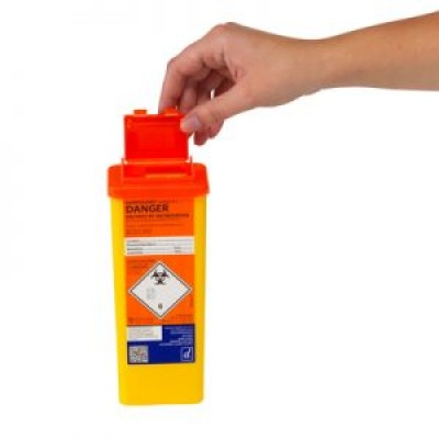Sharps Container 0.5 Litre-Orange Lid