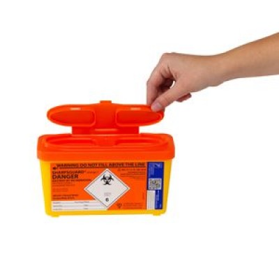 Sharps Container 1.0 Litre-Orange Lid